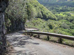 La route pour descendre à la Waipio Valley